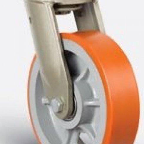 Купить колесо полиуретановое  сверхмощное поворотное, диск-чугун, 250 мм EV01 VBP 250