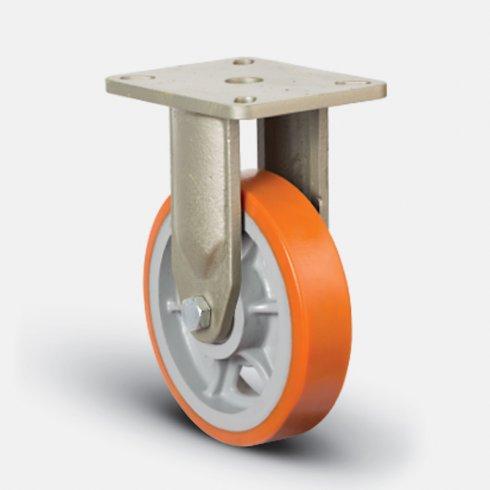 Купить колесо полиуретановое  сверхмощное неповоротное, диск-чугун, 250 мм EV02 VBP 250