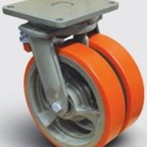 Колесо полиуретановое сдвоенное поворотное с тормозом 350 мм EW01 VBP 350 F