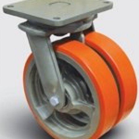 Колесо полиуретановое сдвоенное поворотное 350 мм EW01 VBP 350