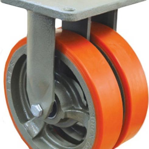 Колесо полиуретановое сдвоенное неповоротное 250 мм EW02 VBP 250