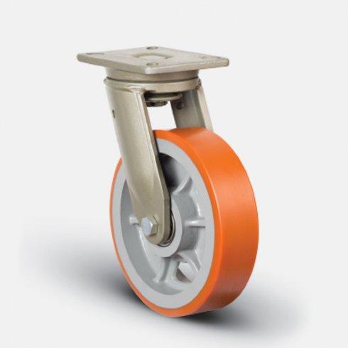 Купить колесо полиуретановое  сверхмощное поворотное, диск-чугун, 300 мм EV01 VBP 300