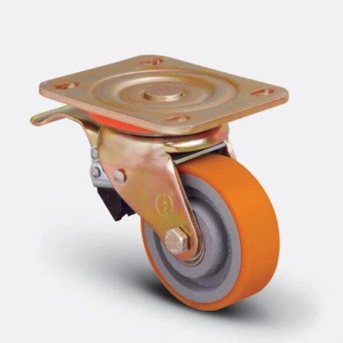 Колесо полиуретановое поворотное с тормозом 200 мм ED01 VBP 200 F