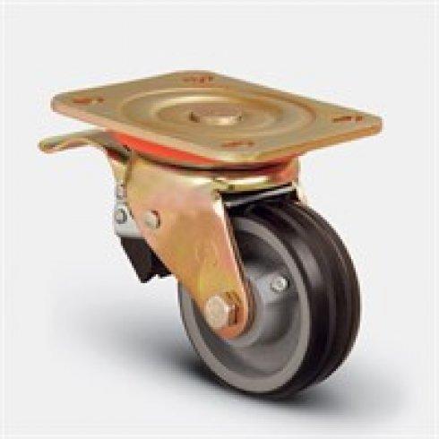Колесо большегрузное обрезиненное поворотное с тормозом 200 мм ED01 VBR 200 F, диск-чугун