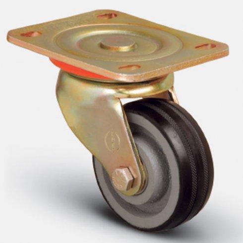 Колесо большегрузное обрезиненное поворотное 125 мм ED01 VBR 125, диск-чугун