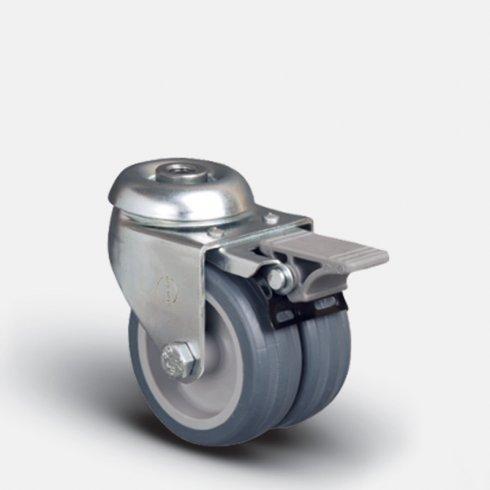 Колесо аппаратное сдвоенное под болт М10 с тормозом 75 мм ET04 MKT 75 F, диск-пропилен