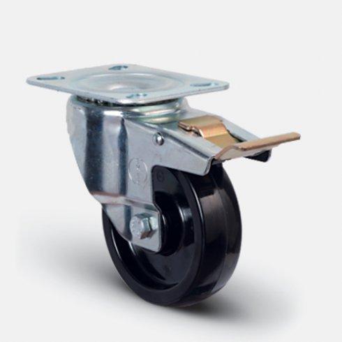 Колесо термостойкое фенольное поворотное с тормозом 100 мм EM01 BKB 100 F