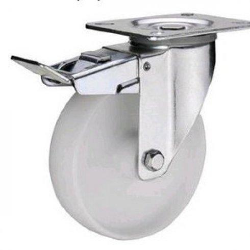 Колесо нейлоновое поворотное с тормозом 160 мм