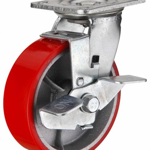 Колесо большегрузное полиуретановое поворотное с тормозом 125 мм (Medium)