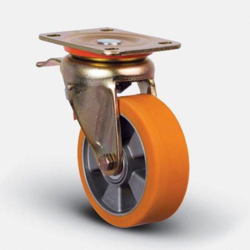 Колесо полиуретановое, диск-алюминий, поворотное с тормозом 200 мм ED01-ABP-200-F