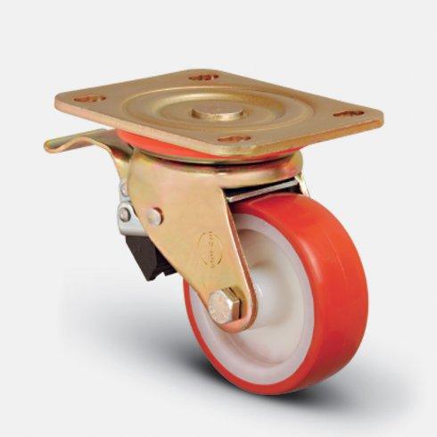 Колесо сверхмощное полиуретановое поворотное с тормозом 200 мм ED01 ZBP 200 F