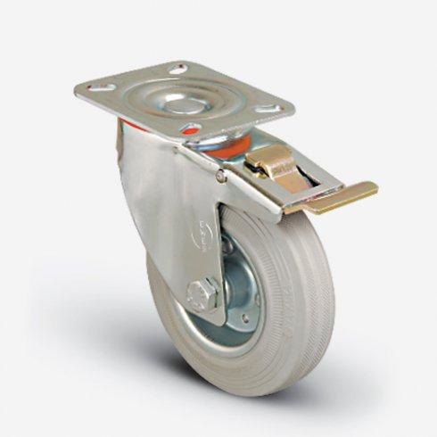 Колесо серое промышленное поворотное с тормозом 125 мм EM01 SPRg 125 F
