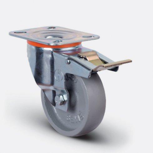 Колесо термостойкое чугунное поворотное с тормозом 80 мм EM01-VKV-80-F