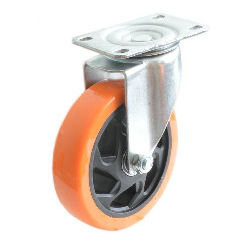 Колесо большегрузное полиуретановое поворотное 100 мм PVC (Medium)