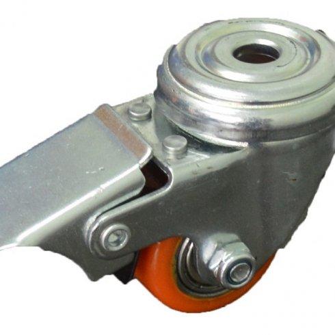 Колесо полиуретановое поворотное под болт М10, с тормозом 35 мм 903035Т
