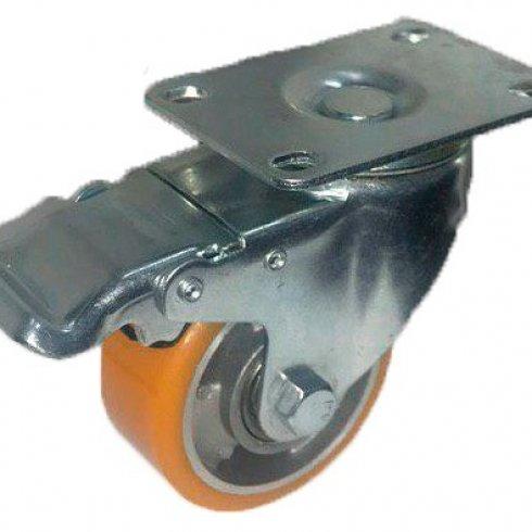 Колесо большегрузное полиуретановое поворотное с тормозом алюминий 75 мм (Medium)