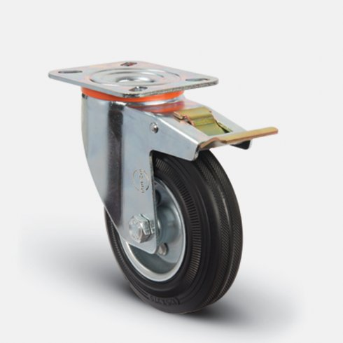 Колесо промышленное поворотное с тормозом 100 мм EM02 SMR 100