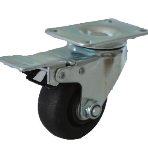 Колесо термостойкое фенольное поворотное с тормозом 75 мм