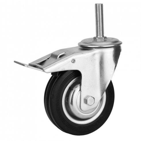 Колесо промышленное поворотное, болтовое крепление с тормозом М12 85 мм