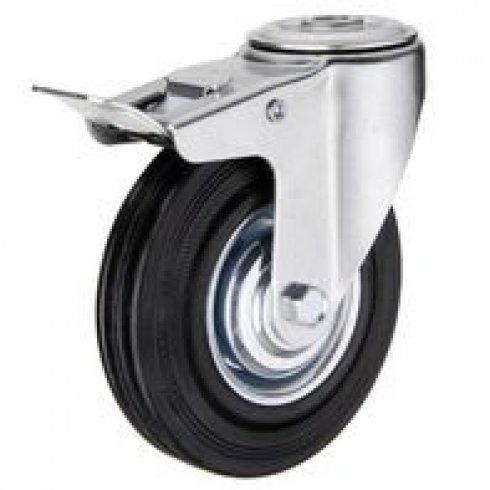 Колесо промышленное поворотное под болт М14 с тормозом 160 мм (207-160)