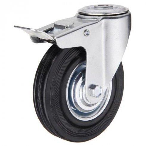 Колесо промышленное поворотное под болт М12 с тормозом 125 мм (207-125)