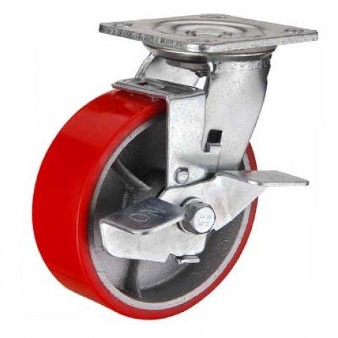 Колесо полиуретановое большегрузное поворотное с тормозом 125 мм SCPB55