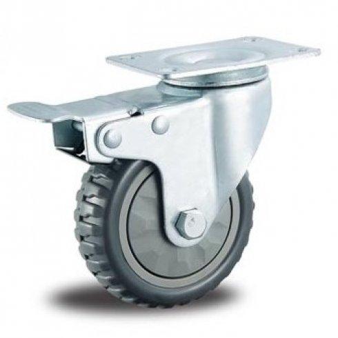 Колесо промышленное литое поворотное 125 мм с тормозом
