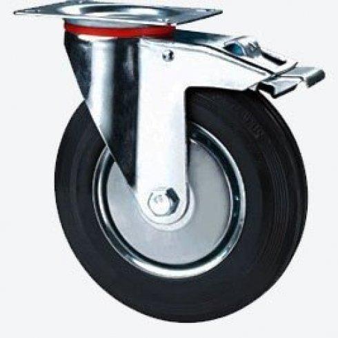 Колесо промышленное поворотное с тормозом 200 мм SCB80