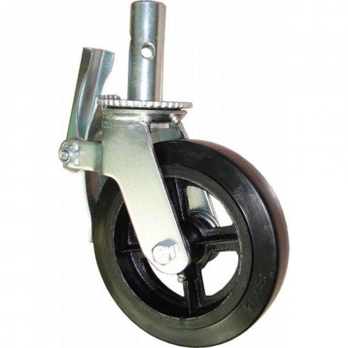 Колесо большегрузное обрезиненное для строительных лесов с тормозом 200 мм, штырь д.34 мм