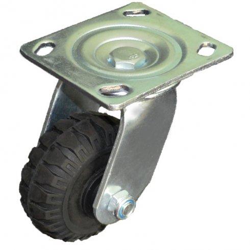 Колесо литая черная резина поворотное 100 мм