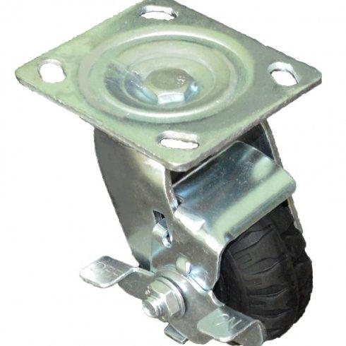 Колесо литая черная резина поворотное 100 мм с тормозом