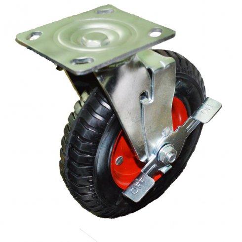 Колесо литая резина красный диск поворотное 200 мм с тормозом