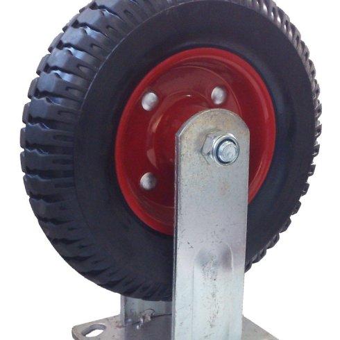 Колесо литая резина красный диск неповоротное 125 мм
