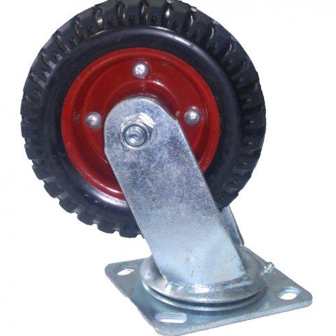 Колесо литая резина, красный диск, поворотное 200 мм