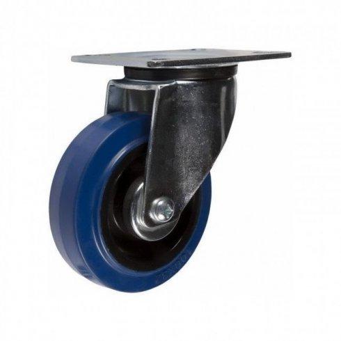 Колесо с эластичной синей резиной поворотное 100 мм