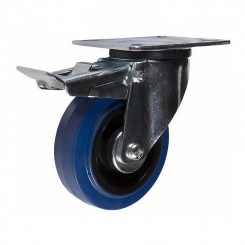 Колесо с эластичной синей резиной поворотное с тормозом 100 мм