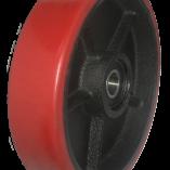 Колесо красное большегрузное полиуретановое, без кронштейна, опорное для рохли 180 мм, подшипник не втоплен