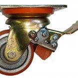 Колесо полиуретановое поворотное с тормозом 80 мм ED01 VBP 80 F вид сбоку